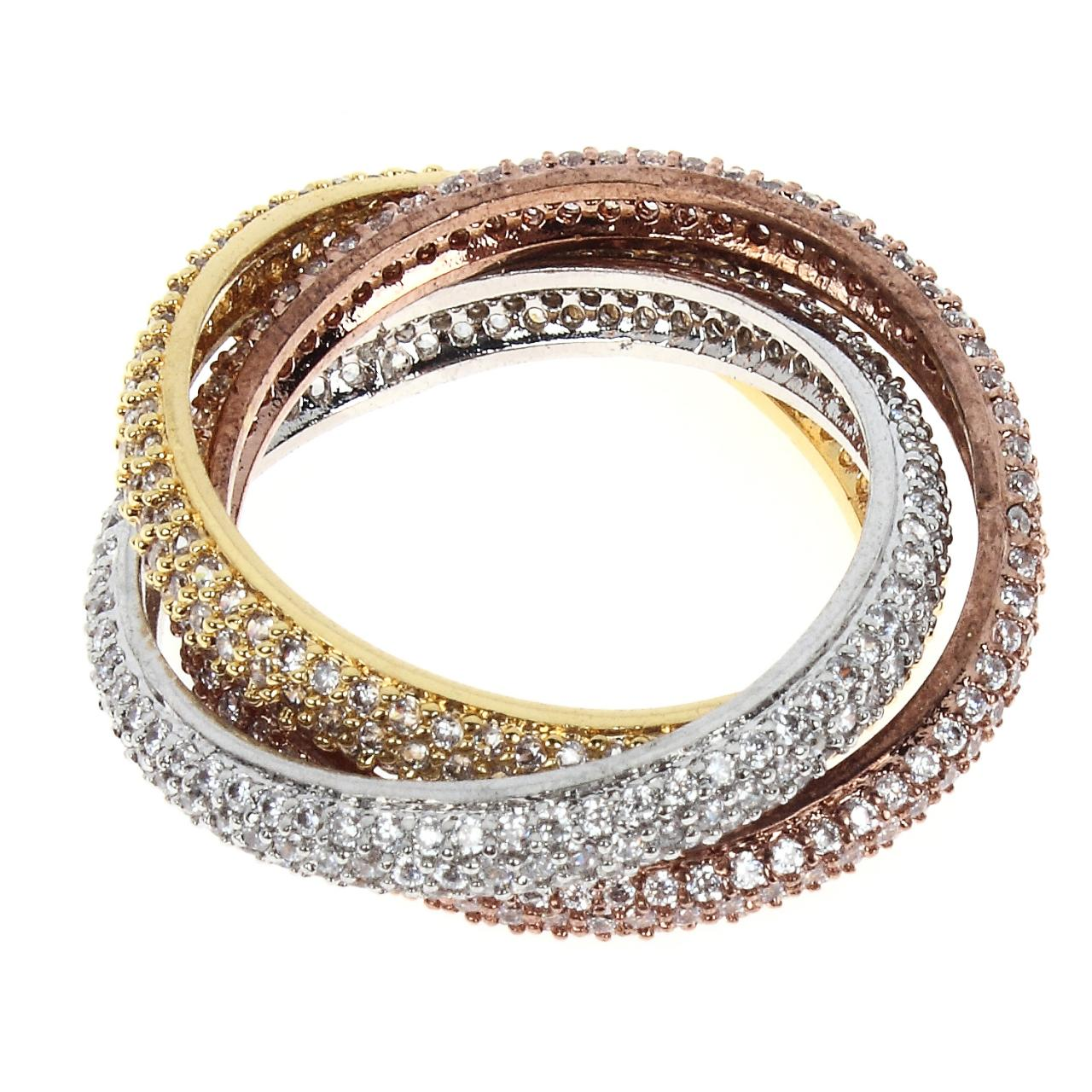 Latest Design Free Shipping 3 Binder Rings For Wedding Party Gift Non-Allergy Plating Prong Setting 3 Color Combinations